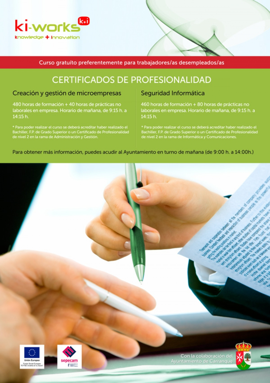 Cursos gratuitos preferentemente para trabajadores/as desempleados/as